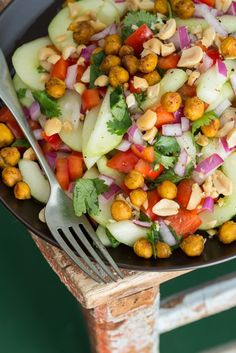 Thai-Inspired Hydrating Cucumber Salad with Roasted Spiced Chickpeas #Salad #Cucumber #Chickpeas #Thai