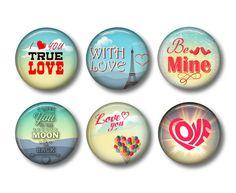 Valentine's Day Refrigerator Magnets Flat Backs Set of 6 pcs -Collection No. 6