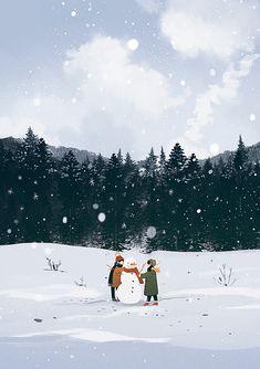 Winter Illustration, Couple Illustration, Christmas Illustration, Illustration Art, Illustration Children, Wallpaper Animes, Animes Wallpapers, Christmas Pictures, Christmas Art