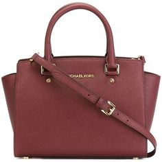 MICHAEL MICHAEL KORS 'Selma' tote ($375) ❤ liked on Polyvore featuring bags, handbags, tote bags, purses, sacs, red tote, red purse, burgundy tote, michael michael kors tote y burgundy leather tote