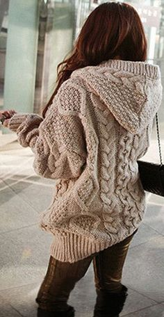 Comfy Cable Knit Hooded Cardigan