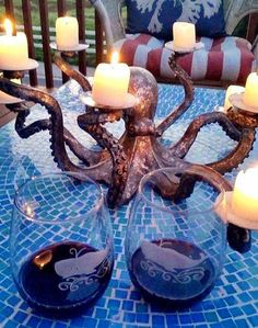 27 fun and airy beach style outdoor living design ideas for your garden . - 27 fun and airy beach style outdoor living design ideas for your garden – home 27 fun and airy be - Strand Design, Silver Candelabra, Diy Lampe, Ideias Diy, Table Accessories, Coastal Decor, My Dream Home, Chandeliers, Outdoor Living