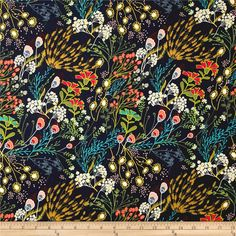 Art Gallery Indie Folk Meadow Dim Dark Blue from Designed by Pat Bravo for Art Gallery Fabrics, this very lightweight rayon challis fabric has a smooth hand and soft, liquid drape. Perfect for fuller skirts Weaving Textiles, Art Gallery Fabrics, Blue Fabric, Wall Fabric, Home Decor Fabric, Leaf Prints, Fabric Patterns, Print Patterns, Lashes