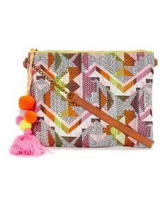 e6625463d This Pink  amp  Orange Geometric Pom-Pom Crossbody Bag is perfect!   zulilyfinds