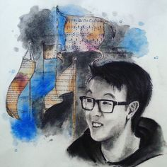 Sam #charcoal #collage #ink #watercolor #multimedia #portrait #art #artwork #concentration  #glasses #flags #got #gameofthrones #hanszimmer #sheetmusic #music #books #pages  #myfavorite by mie_doods