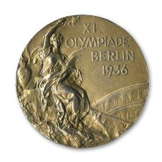 "JESSE OWENS 1936 OLYMPIC GOLD MEDAL FROM BERLIN GERMANY FROM THE ESTATE OF BILL ""BOJANGLES"" ROBINSON"