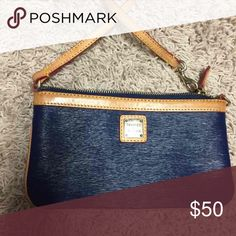 Dooney and Bourke Leather Wristlet EUC used for change - navy Dooney & Bourke Bags Clutches & Wristlets