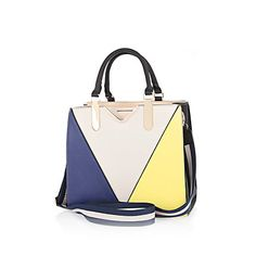 Blue and yellow colour block tote bag $80.00