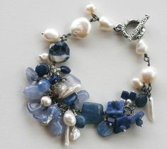 Blue stone and pearl bracelet Charmed at Sea by LibertyOriginals
