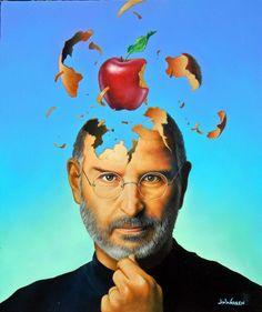 "Original Painting ""Steve Jobs Brainstorming"" by Jim Warren Steve Jobs, Jim Warren, Job Quotes, Unusual Art, Surreal Art, Long Beach, Illusions, Original Paintings, Art Paintings"