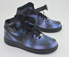 Hand Painted Nike AF1 Mid Galaxy Sneakers - Custom Galaxy Nike Air Force 1s