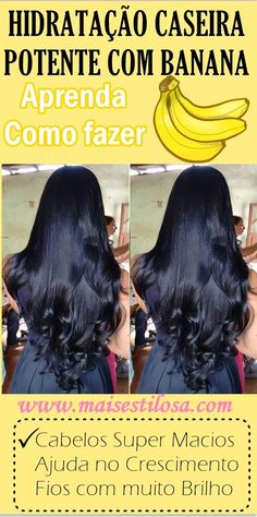 SUPER HIDRATAÇÃO CASEIRA COM BANANA: Cabelos super macios, com muito brilho e alinhados. Beauty Care, Beauty Hacks, Hair Beauty, Curly Afro Hair, Curly Hair Styles, Permed Hairstyles, Long Hair Cuts, Tips Belleza, How To Make Hair