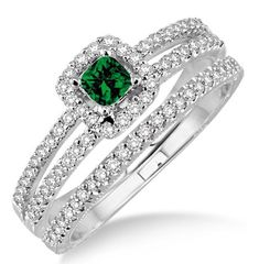 """2 Carat Emerald & Diamond Bridal Set two row halo on 10k Yellow Gold. Say """" I DO"""" with the dazzling and perfect Emerald wedding ring engagement set. She will love this lovely and trendy style of this diamond and Emerald ring.