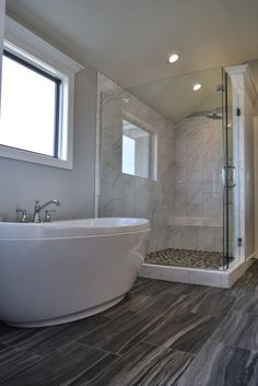 Glass Shower, Large Master Bath Shower, Freestanding Master Bathtub, White Bathroom