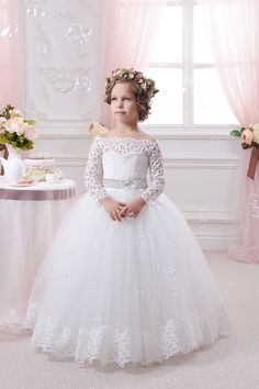 Cheap girl kids dress, Buy Quality kids dress directly from China kids dress up Suppliers: Appliques Long Sleeves Holy Communion Infant Lace Up Kids Floor Length Puffy Tulle Ball Gown Year Flower Girls Kids Dresses White Flower Girl Dresses, Lace Flower Girls, Little Girl Dresses, Girls Dresses, White Communion Dress, Holy Communion Dresses, Tulle Ball Gown, Ball Gowns, Cheap Gowns