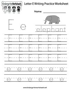 kindergarten letter e writing practice worksheet printable - Kids Worksheets Printable