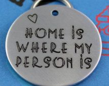 Large Personalized Pet Tag - Custom Engraved Dog Name Tag - Unique Font - Home is Where My Person Is Cute Dog Tags, Dog Name Tags, Pet Tags, Cute Dogs, Unique Font, My Person, Dog Names, Custom Engraving, Pet Supplies