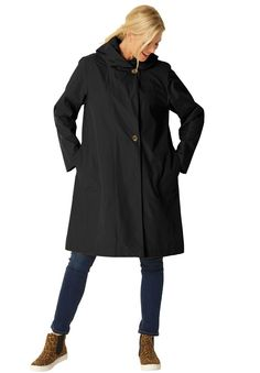 Packable water-resistant hooded raincoat with zip bag   Plus Size All Outerwear   Woman Within