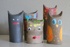 Halloween Pals Tutorial - make monsters, bats, and owls with empty paper tubes!