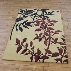 Cream Wool Leaf Rug
