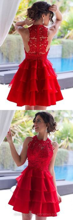 New Style Red Prom Dresses, A-line Lace Short Homecoming Dresses, Scoop Neck ChiffonTiered Party Graduation Dress