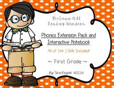 This packet includes phonics activities including, interactive notebook phonics, for Unit 1, Week 6 (Review Week) of the McGraw-Hill Reading Wonders program for FIRST GRADE!