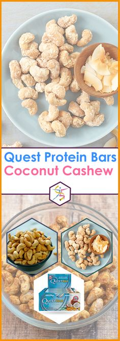 Quest Protein Bars, Naturally Sweetned - Coconut CashewProtein Blend (Milk Protein Isolate, Whey Protein Isolate), Soluble Corn Fiber (Prebiotic Fiber), Almonds, Water, Erythritol, Dried Coconut, Natural Flavors, Cashews, Palm Oil, Sea Salt, Steviol Glycosides (Stevia).