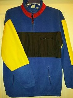 IZOD Sport Fleece Long Sleeve Pullover Nylon Color Block Contrasting 1/4 Zip LS