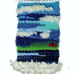 Tissage mural, décoratif, petite tapisserie; bleu turquoise