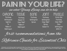 Oils for pain! For more oil info go to www.thelivingdrop.com