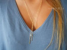 Delicate Gold Filled Lariat Necklace. Dainty Lariat by annikabella