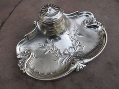 Antique or Vintage Beautiful Ornate Victorian Brass Ink Desk Inkwell Stand