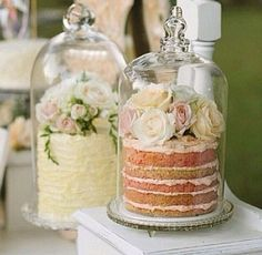 Love this cake display with glass covered naked cakes Candybar Wedding, Wedding Desserts, Wedding Cakes, Wedding Decorations, Elegant Desserts, Fancy Desserts, Elegant Cakes, Wedding Favours, Delicious Desserts