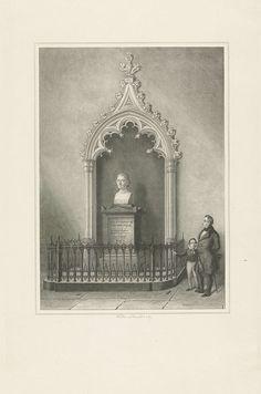 Jan Baptist Tetar van Elven   Monument voor Johannes Henricus van der Palm, Jan Baptist Tetar van Elven, 1842 - 1889   Een man en een jongen kijken naar het monument met het borstbeeld van de dichter, theoloog, staatsman en hoogleraar Johannes van der Palm (1763-1840), in de Pieterskerk te Leiden.