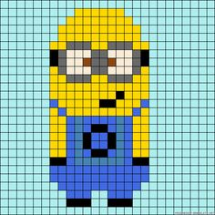 Minion perler bead pattern - try as cross stitch/tapestry Minion Crochet Patterns, Minion Pattern, Perler Patterns, Bead Patterns, Beaded Cross Stitch, Cross Stitch Embroidery, Cross Stitch Patterns, Minion Template, Pixel Crochet