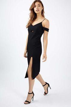 Cold Shoulder Rib Midi Dress