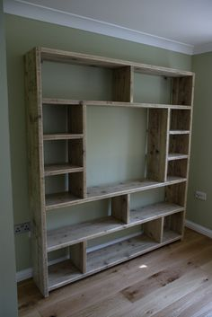 Bookcase variation. Made from old scaffold boards.