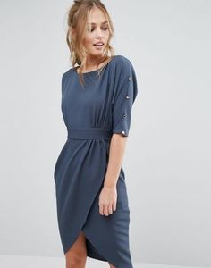 Closet Wrap Front Midi Dress with 3/4 Length Sleeves