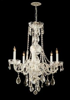 Crystorama 1115-PB-CL-MWP Traditional Crystal 5 Light Chandelier, Polished Brass
