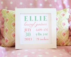 Personalized Baby Announcement (Boy or Girl)  - 8x8 Square Print