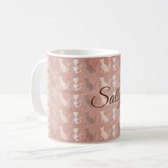 Cat Silhouette Pattern on Brown Personalized Coffee Mug - cat cats kitten kitty pet love pussy