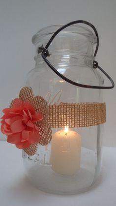 10 Burlap Coral Mason Jar Country Rustic Wedding Decorations Wraps S8…