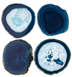 Set of 4 agate coasters with contoured edge.