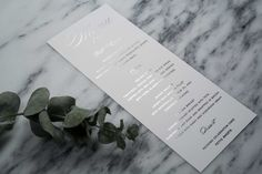 Kurt & Blaine Menu: Complement your wedding reception with a traditional and elegant design. This design matches our Kurt & Blaine wedding suite. Shown in Silver Foil but can be personalized in any of the foil finishes.