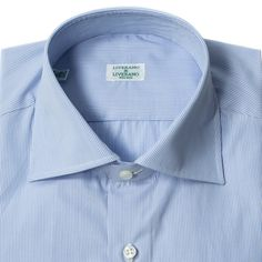 The ever popular Liverano spread collar shirt in a blue micro stripe. With a medium spread collar that is lightly lined, Liverano shirts are set apart by their handmade construction and regional Italian styling. With a larger sleevehead than armhole, the excess fabric is eased in by hand creating a shirring effect that can't be replicated by machine.