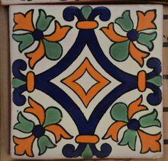 "45 azulejos Talavera- pintadas a mano 4 ""X - Porter Tutorial and Ideas Tile Patterns, Pattern Art, Surface Pattern Design, Ceramic Painting, Ceramic Art, Painted Rocks, Hand Painted, Talavera Pottery, Art Populaire"