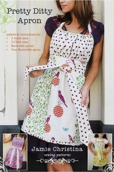 Pretty Ditty Apron by Jamie Christina  Great pattern, made it reversible, directions for that are included.