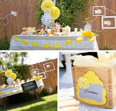 """Bee"" prepared to be wowed by the BEE-utiful details of this charming Honey & Bee themed party styled by Liz Archard from The Papered Nest!  The yellow, white and gray color palette of this super sweet party works wonderfully to convey the delightful innocence while adding an enchanting vintage vibe."