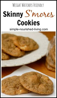 Skinny S'mores Cookies are sweet and delicious. One of the best cookies I've ever made. 130 calories, 3 Weight Watchers Points Plus (2-cookie serving). http://simple-nourished-living.com/2014/10/skinny-smores-cookies/