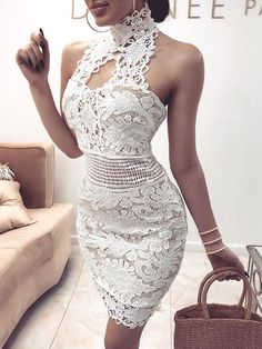 party dress# fashion# summer outfits# summer dress# Crochet Lace Halter Hollow Out Mini Dress Crochet Dress Outfits, Summer Dress Outfits, Summer Fashion Outfits, Fashion Dresses, Dress Summer, Dress Casual, Sexy Homecoming Dresses, Sexy Dresses, Short Dresses